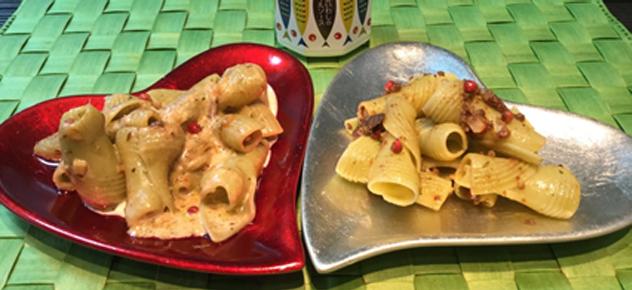 中島菜パスタの金香オイルソース仕立て2種